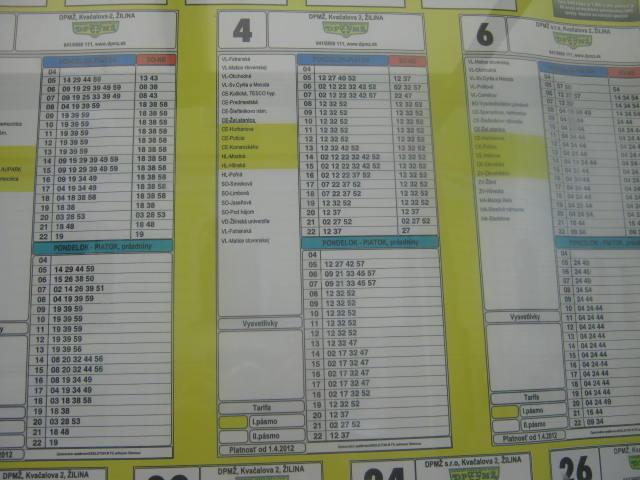 jízdní řád linek 4 a 6