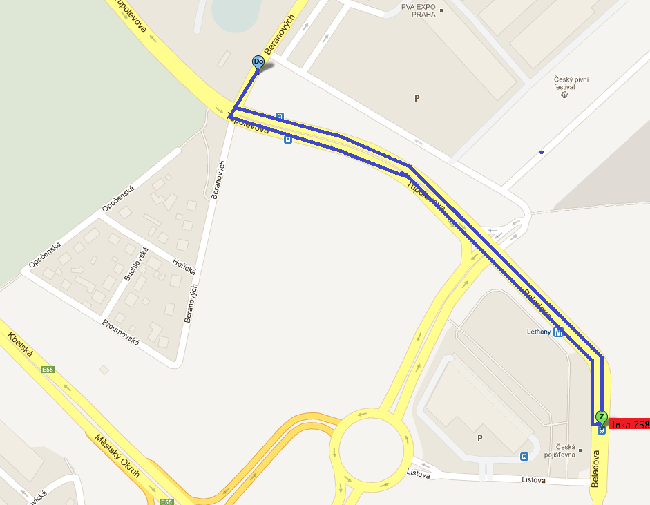 trasa linky 758