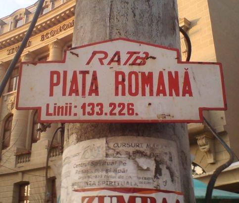 Označeni autobusové zastávky na Piața Romană