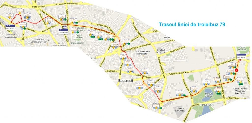 Detail trasy trolejbusu číslo 79 na stránkách RATB