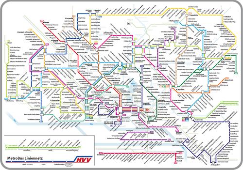 síť MetroBusů HVV