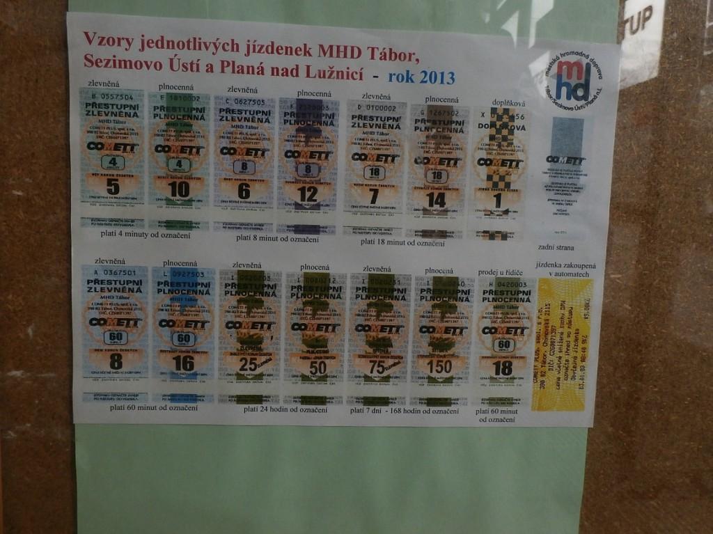 jízdenky MHD Tábor