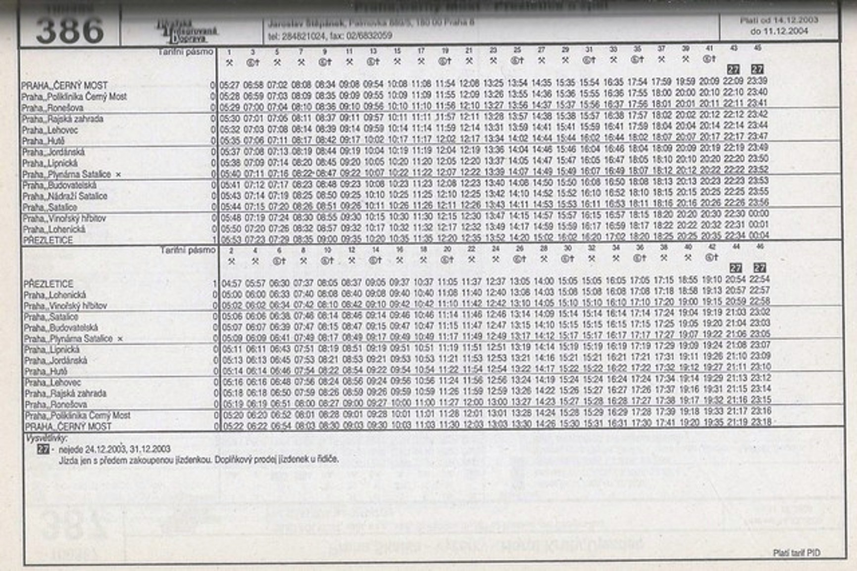 Linka 386 JŘ 2003/04