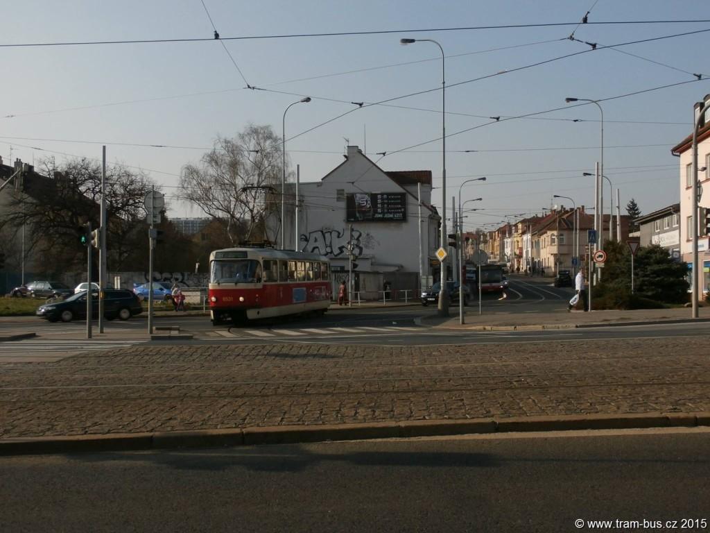 Fotka dne 10. 4. 2015: Pár aktuálních fotek ze dneška z výluky Ke Stírce - Kobylisy. linka 37 Březiněveská DPP Tatra T3R.P 8531