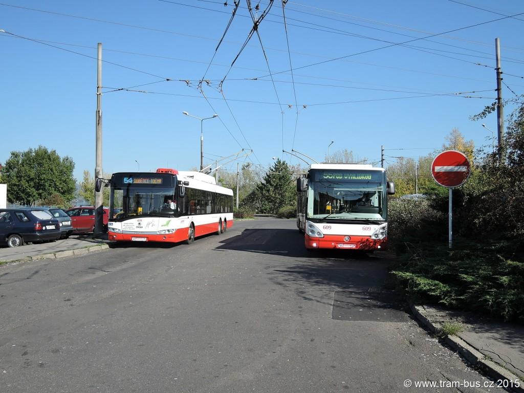 096 - linka 54 a 56 Ústí nad Labem,Dobětice Škoda 28Tr 419 a Škoda 25Tr 609