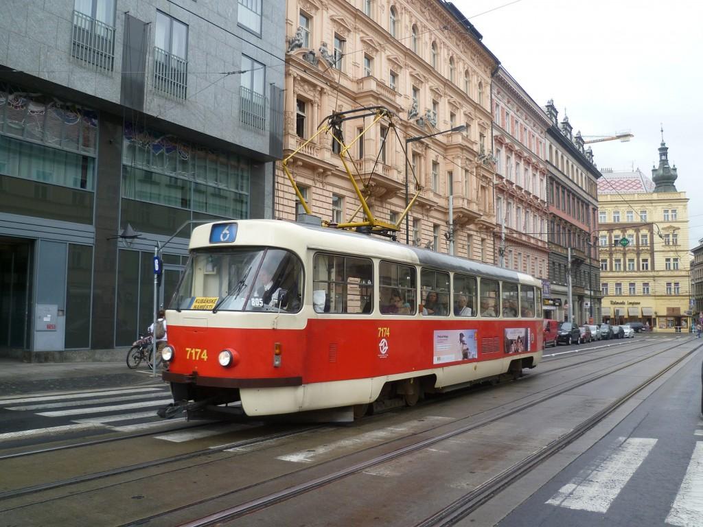 4280 - linka 6 Masarykovo nádraží DPP Tatra T3SUCS 7174