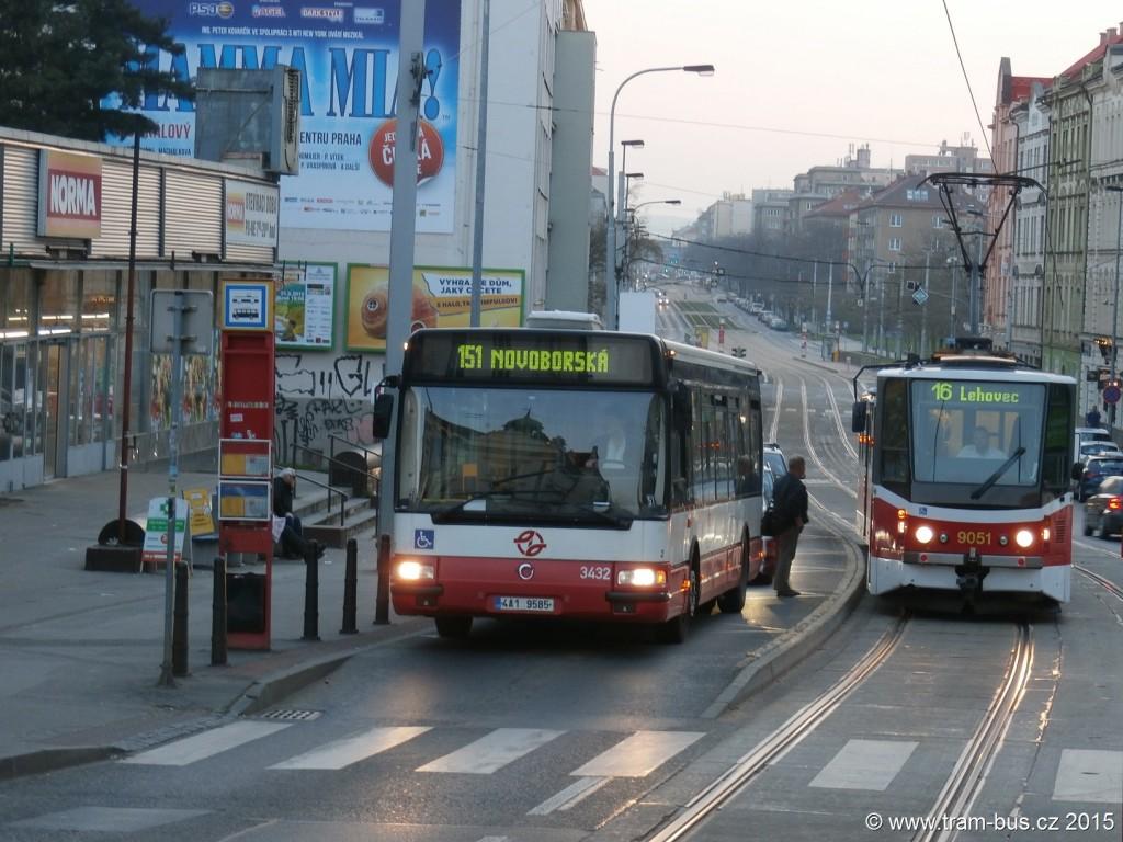 3689 - linka 151 a 16 Nádraží Vysočany DPP Irisbus Citybus 12M 3432 a Tatra LT8D5.RN2P 9051
