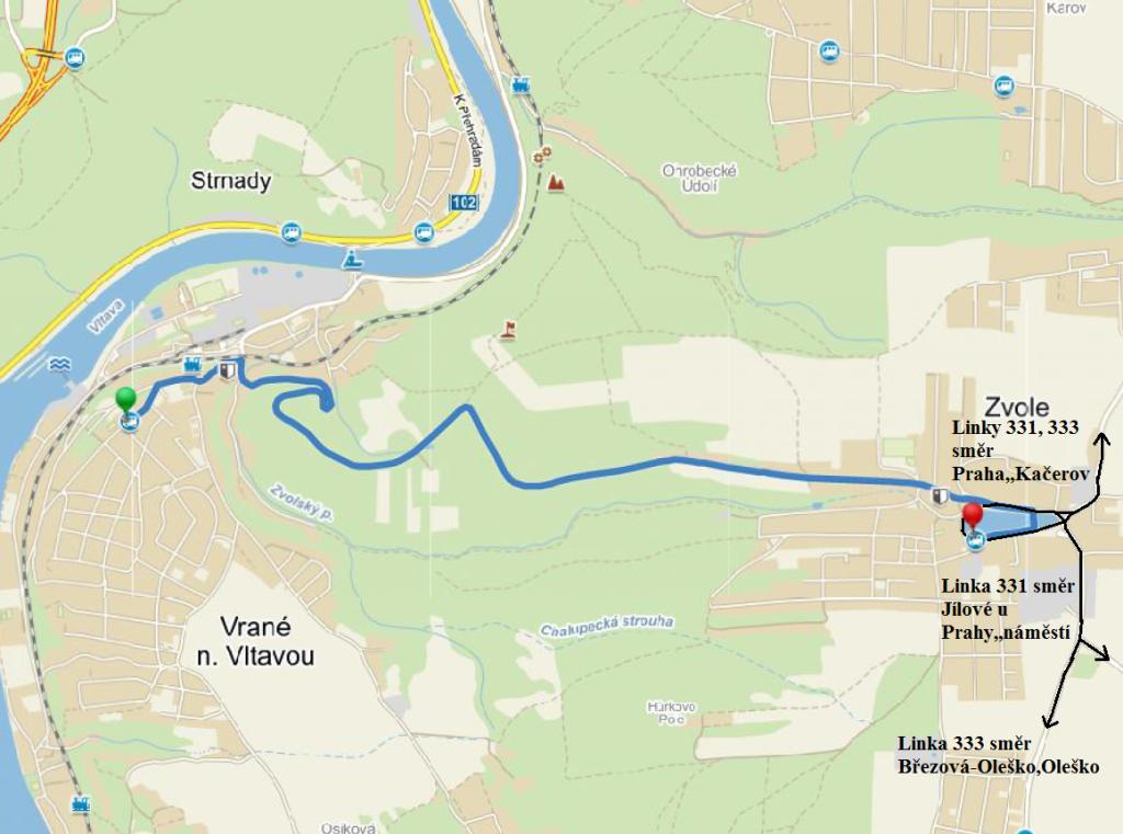 Mapa linky 331 Zvole Vrané