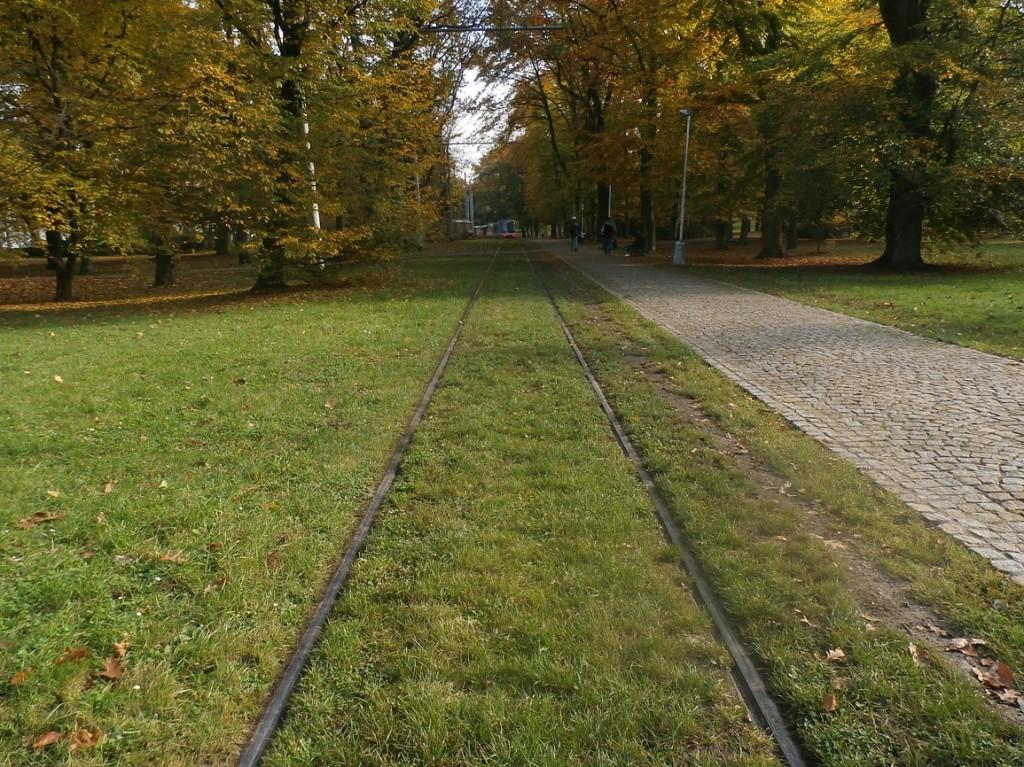 Pozůstatek tramvajové trati do Královské obory, které je stále provozuschopná.