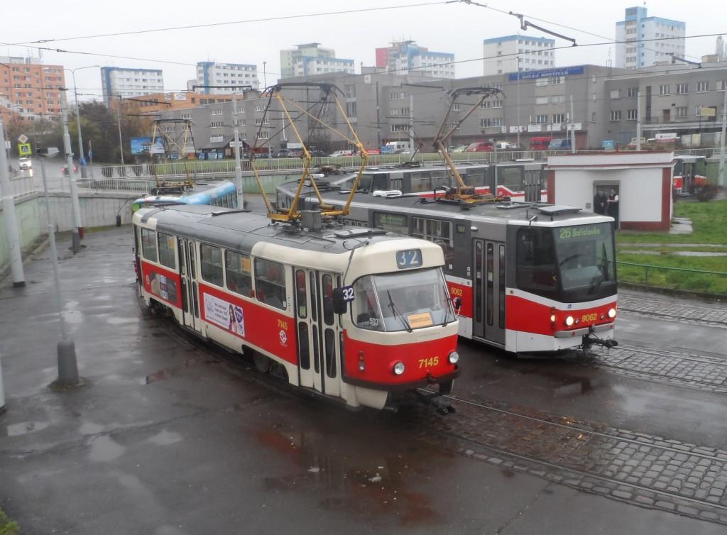 1419 - linka 32 DPP Nádraží Hostivař Tatra T3SUCS 7145