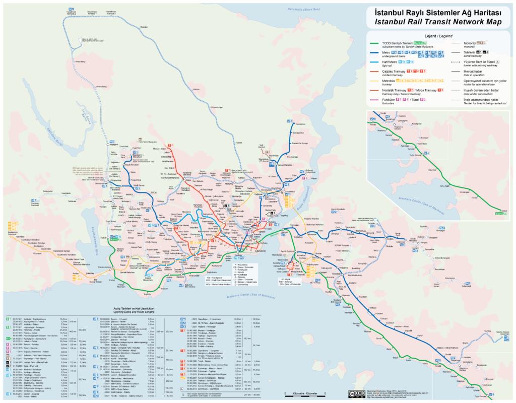 Schéma páteřní dopravy v Istanbulu (zdroj: wikimedia.org)
