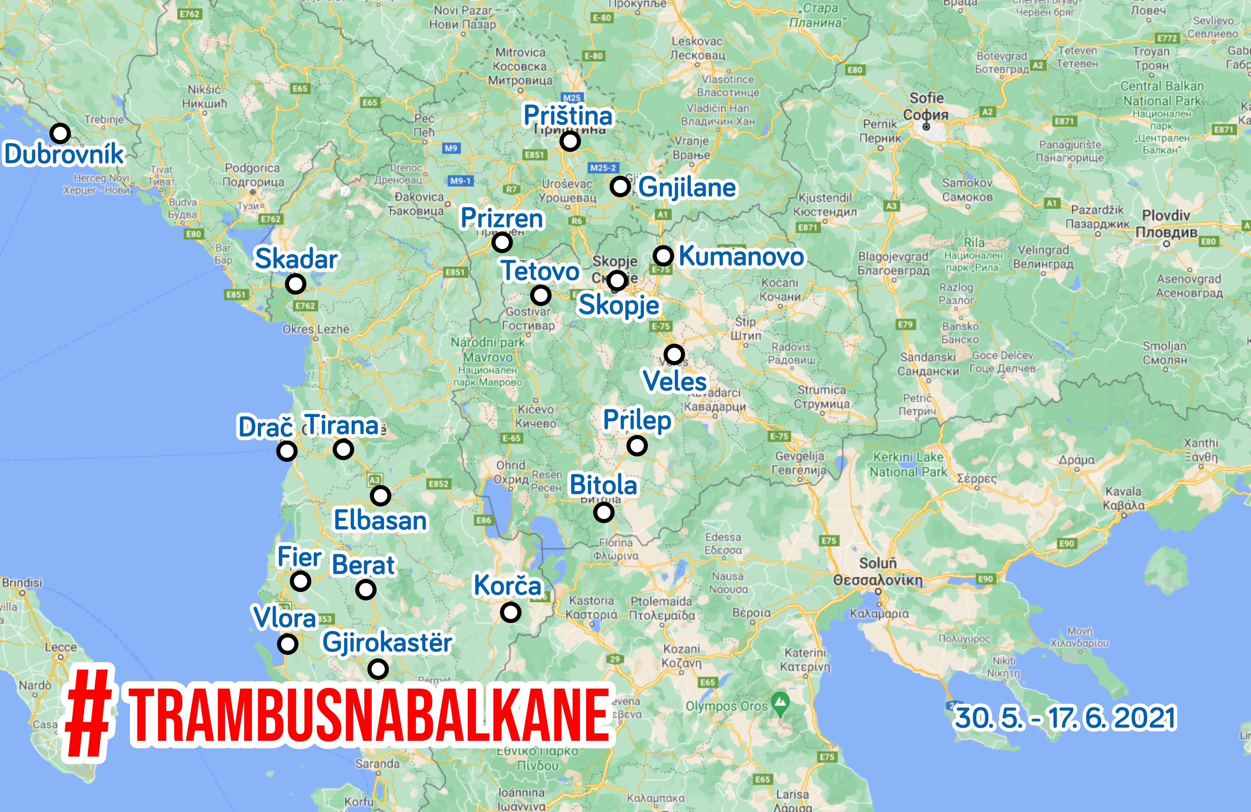 Tram-bus na Balkáně 2021