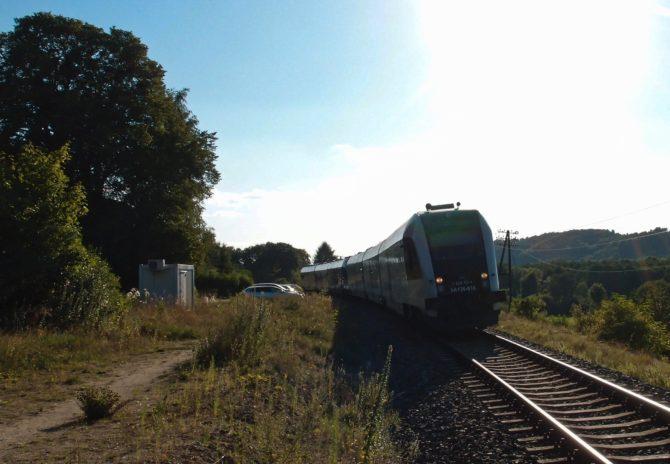 Během srpnového podvečera se dvojice motorových jednotek Pesa SA136 na osobním vlaku Kościerzyna - Żukowo - Gdynia blíží k zastávce Krzeszna