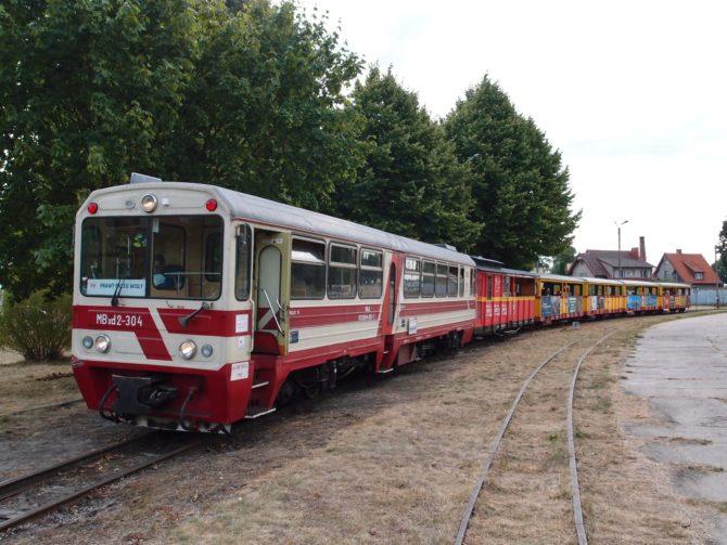 Ranní vlak v trase Nowy Dwór Gdański - Prawy Brzeg Wisły právě přijíždí do stanice Stegna, jež má kolejiště řešené do trojúhelníkového tvaru, v čele vlaku vidíte motorový vůz řady MBxd2 z roku 1984