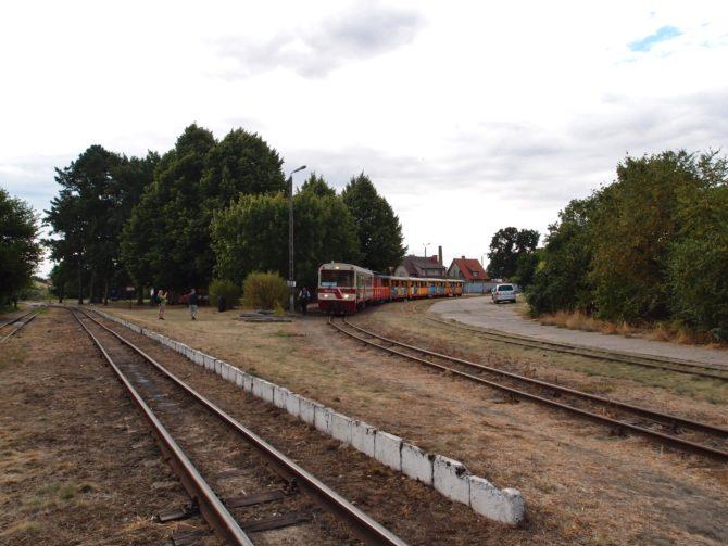 Železniční křižovatka Stegna s vlakem Nowy Dwór Gdański - Prawy Brzeg Wisły, nalevo vidíme trať se směru Sztutuwo