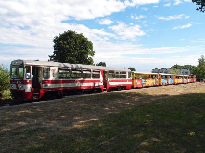 Soupravu výletního vlaku tvoří motorový vůz MBxd2, několik otevřených výletních vozů a bufetový vůz; zde byl vyfocen na úplném východním konci trati v zastávce Sztutowo